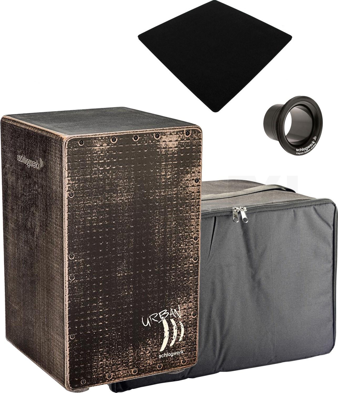 Schlagwerk CP-5230 Cajon Urban OS Grunge Black /& Tasche /& Sitzpad  *BUNDLE*