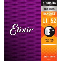 Elixir 11027 Acoustic Nanoweb Bronze Custom Light 011 - 052