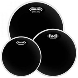 "Evans Black Chrome Tom Pack Fusion 10"" 12"" 14"""