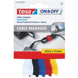 tesa 55236 On&Off Cable Manager 5x 0,2m bunt