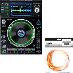 Denon SC5000 PRIME + JOGWHEEL ORANGE SWIRL Skin Modding Set