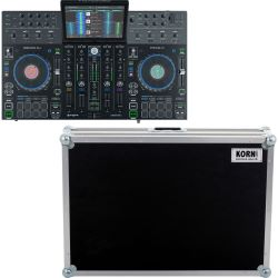 Denon PRIME 4 DJ System + Workstation Flightcase mit Laptopschlitten
