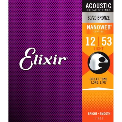 Elixir 11052 Acoustic Nanoweb Bronze Light 012 - 053