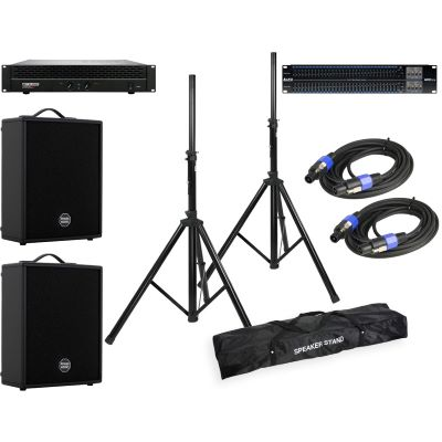HK Audio Powerworks RS 122 M 2er Set + EQ + Amp + Speaker Kabel + Stative
